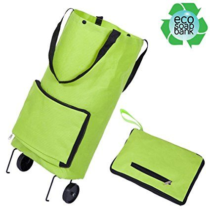 21bda7a9aaa Resuable Foldable Wheeled Shopping Cart Bag Soft-Shell Tote Box with ...