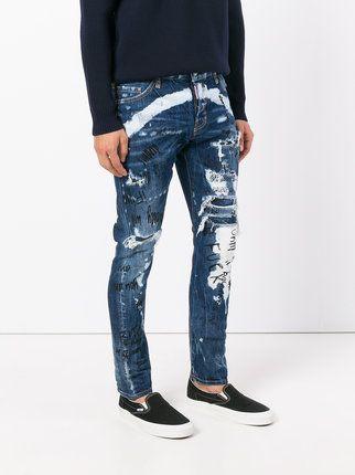 Dsquared2 Jeans Desgastados Con Detalles De Grafiti Ropa Cool Para Hombre Estilo Denim Jeans