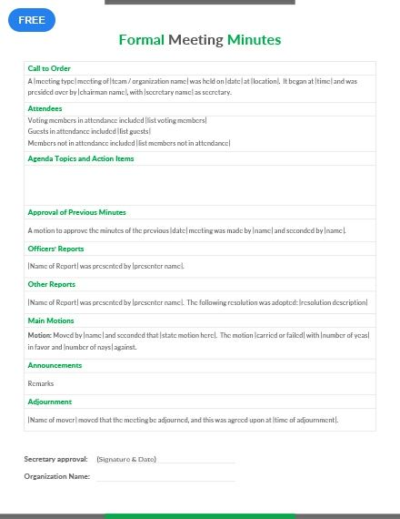 Easily Editable Printable In Ms Word Pages Download High Quality Printable Template For Free Print At Your Convenie Meeting Planner Word Doc Templates - ms word minutes template
