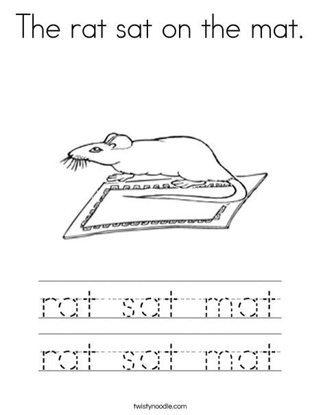 The Rat Sat On The Mat Coloring Page Twisty Noodle Cvc Words