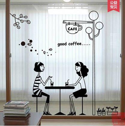 Tea Shop Girl Cafe Shop Cafeteria Decorative Glass Window Stickers