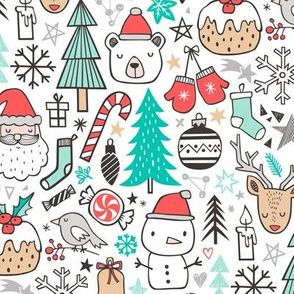 Christmas Fabric 2021 Release Colorful Fabrics Digitally Printed By Spoonflower Xmas Christmas Winter Doodle With Snowman Santa Deer Snowflakes Trees Mittens In 2021 Christmas Fabric Doodles Doodle Designs