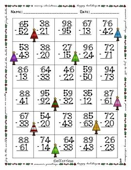 Christmas Touch Math Double Digit Subtraction No Regrouping Touch Math Christmas Math Worksheets Touch Math Printables