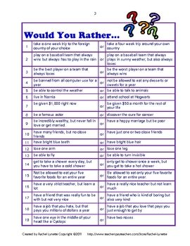 FREE Would You Rather Questions for Kids from the wonderful Rachel Lynette! Great discussion starters or journal prompts.