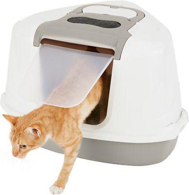 Frisco Flip Top Hooded Corner Cat Litter Box Large 21 In Chewy Com Cat Litter Box Litter Box Cat Litter
