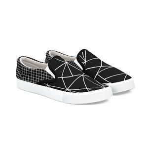 Ab Outline Grid Black Shoe 65 Geometric Abstract Grid Black Monochrome Minimal Bucketf Black Shoes Black And White Design Vans Classic Slip On Sneaker