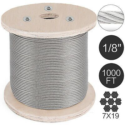 Ad Ebay T316 Stainless Steel Cable Wire Rope 1 8 7x19 1000ft Strand Aircraft Rigging In 2020 Stainless Steel Cable Stainless Steel Cable Railing Cable Railing