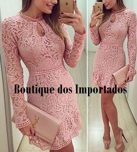 Chegam novas vestidos mulheres moda lace casual dress 2017 o-pescoço manga  rosa vestidos de festa à noite vestido de festa brasil tendência |  Pinterest ...