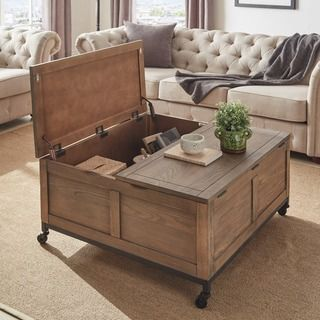 Shay Square Storage Trunk Cocktail Table With Caster Wheels By
