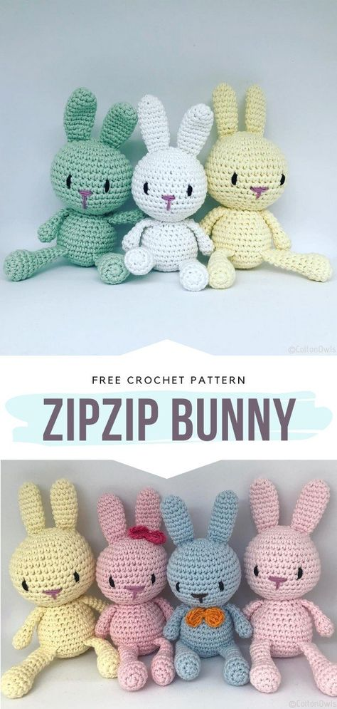 Spring Bunnies Free Crochet Patterns - - Hello, amigurumi lovers, I have something for you today! This collection is fresh, sweet, and smells like spring flowers. Spring Bunnies will certainly. Teddy Bear Patterns Free, Easter Crochet Patterns, Crochet Bunny Pattern, Crochet Amigurumi Free Patterns, Crochet Animal Amigurumi, Easy Crochet Animals, Crochet Baby Toys, Crochet Teddy Bears, Easy Things To Crochet
