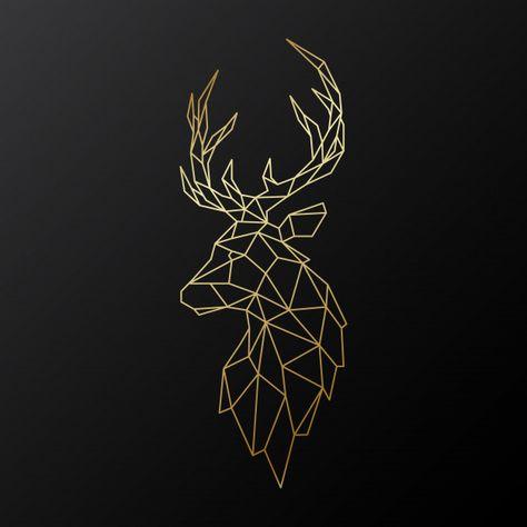 Golden polygonal deer. Premium Vector | Free Vector #Freepik #freevector #freebackground #freelogo #freechristmas #freelabel