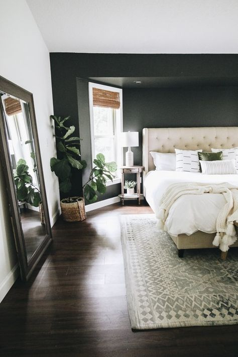 Three Ways to Easily Transform a Bedroom (Within the Grove) Dark Master Bedroom, Dream Bedroom, Home Bedroom, Modern Bedroom, Dark Bedroom Walls, Dark Cozy Bedroom, Dark Bedrooms, Bedroom Decor Dark, Bedroom Interiors