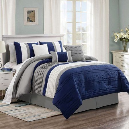 11 Piece Noah Navy Gray Bed In A Bag Set Comforter Sets Elegant