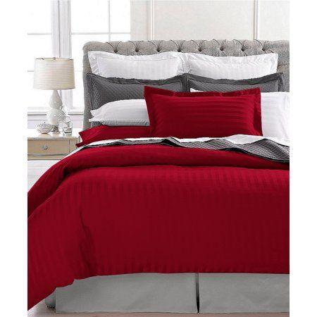 Ultra Soft 1800 Series 3 Pc Striped Duvet Set Full Queen Burgundy Walmart Com In 2021 Bedroom Red Red Bedroom Design Designer Bed Sheets