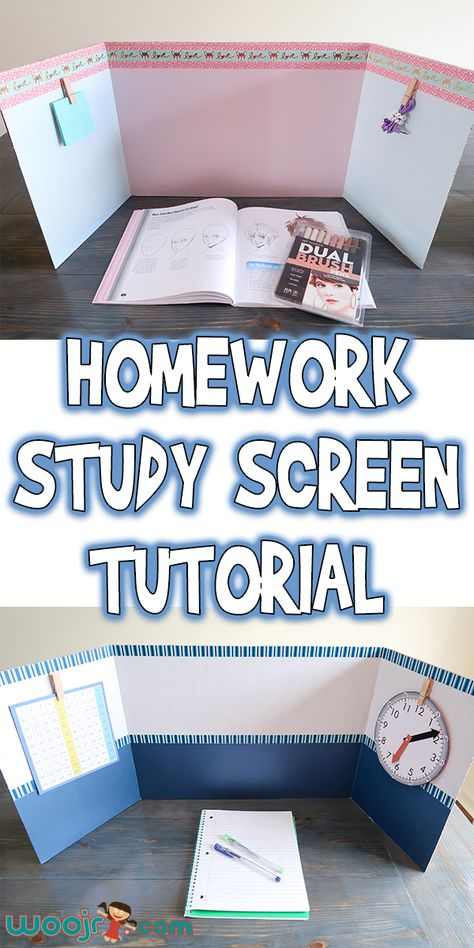 This Homework Study Screen Tutorial is very flexible and can be altered depending on the supplies you have at home and can be personalized for your child! Always Learning, Kids Learning, Learning Spaces, Teaching Activities, Activities For Kids, Activity Ideas, Kids Homework Station, Homework Area, Kids Workspace