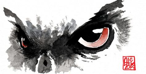 Aquarelle Le Regard Du Hibou The Owl S Look Aquarelle Hibou