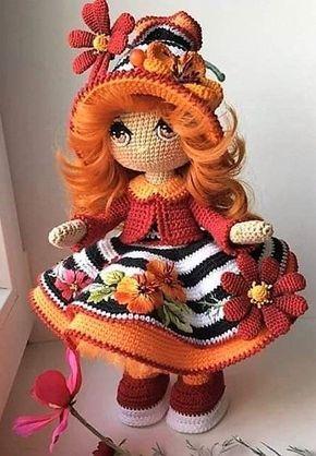 Pattern of the crochet doll knitting (15 cm) - Katkarmela о вязании | 418x290