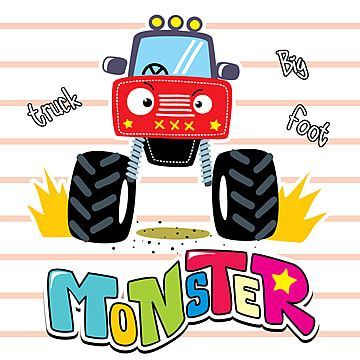Cute Red Truck On Striped Background Illustration Vector 4x4 Activity Automobile Png And Vector With Transparent Background For Free Download Di 2021 Anak Kartun Lucu