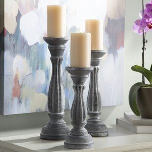 Votive Candle Gardens Home d/écor 10,8,6 Inch Set of 3 Dark Grey Candle Stands Wooden for Pillar Candles,Rounded Turned Colums Aromatherapy Idle for Reiki Sustainable Woods Country Style