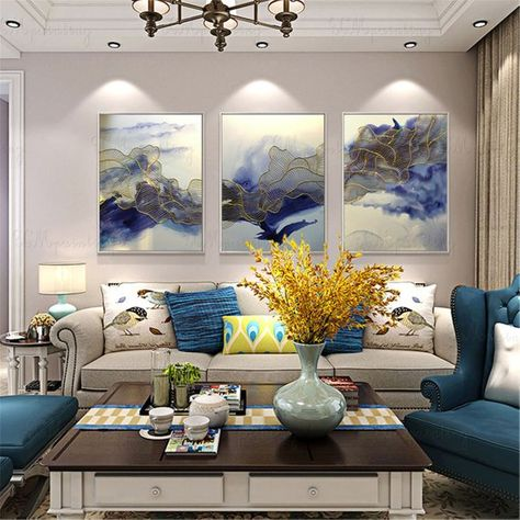 3 Pieces Gold Lines Abstract Painting Canvas Wall Art Pictures For Living Room Wall Decor Bedroom Home Decor Original Acrylic Blue Texture Blue Living Room Decor Living Room Pictures Home Wall Decor