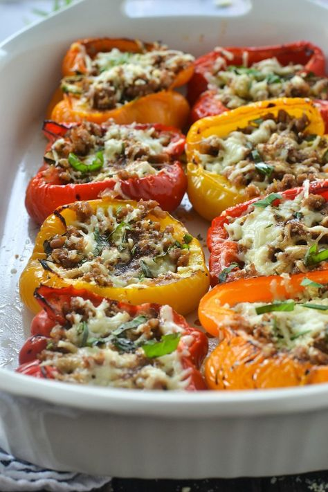 Roasted Stuffed Peppers With Italian Sausage And Balsamic Glaze Recipe Stuffed Peppers Italian Sausage Recipes Appetizer Recipes