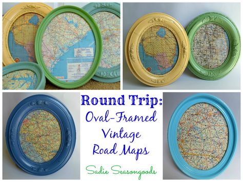 Take antique oval picture frames, give them a splashy makeover with bright spray paint, and use them to showcase snippets from vintage road maps. They come together swimmingly and are a great way to decorate any room in your home. #sadieseasongoods