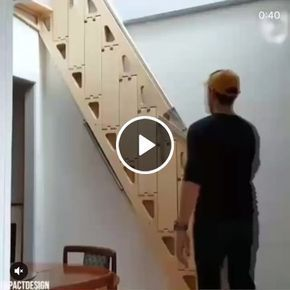 Wooden Folding Ladder In The House So Droll Gifs Folding Ladder Stairs Design Loft Ladder