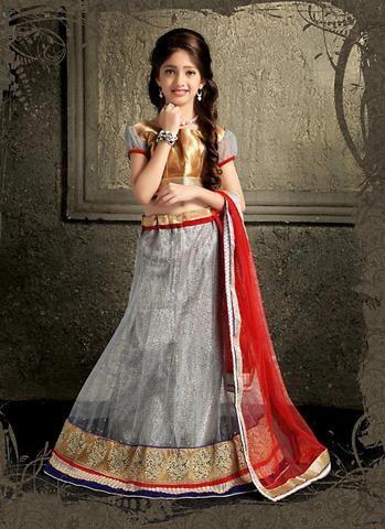 Gray Color Kids Wear Lehenga Choli Online Shopping ,Indian Dresses - 1