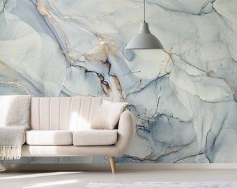 Wallpaper Adhesive Vinyl Gold Grey Sparkles Marbling Abstract Oriental Peel And Stick Large Photo In 2021 Blue Marble Wallpaper Removable Wallpaper Watercolor Wallpaper