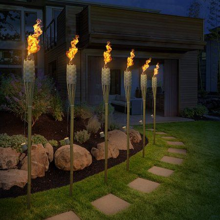 5FT Bamboo Tiki Torch Light Garden Path Lighting Halloween Parties Weddings 1.5M