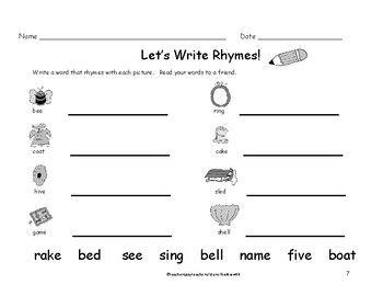 Peaceful rhyming worksheets for kindergarten information