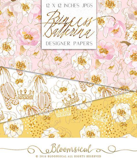 Princess Ballerina Digital Papers Flowers Glitter Gold Crown