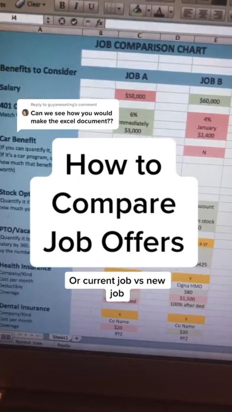 How to Compare Job Offers Spreadsheet