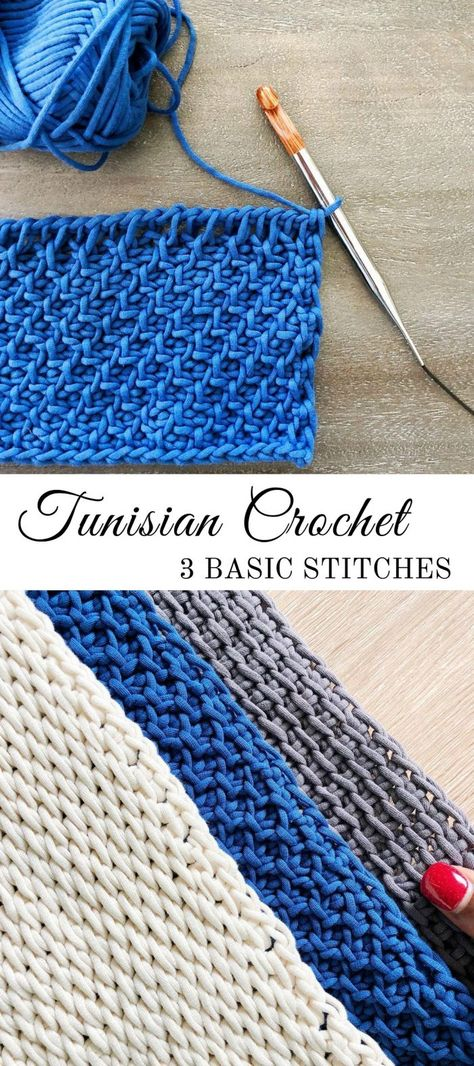 3 Basic Tunisian Crochet Stitches