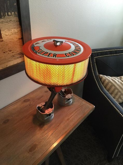 This listing is for: A custom Air cleaner and piston lamp made from retired or 440 Mopar pistons and a new air cleaner assembly with a dual pull chain light fixture. Car Part Furniture, Automotive Furniture, Automotive Decor, Home Decor Furniture, Man Cave Garage, Garage Art, Pull Chain Light Fixture, Car Themed Bedrooms, Car Part Art