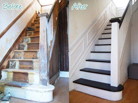 Idee Peinture Escalier Bois.Renovation Escalier Idees Escalier Peint Et Deco Montee D