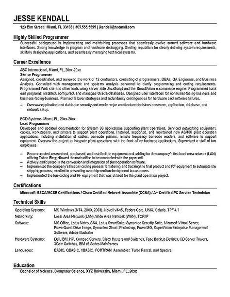 ComputerProgrammer  Take This Job      Sample Resume
