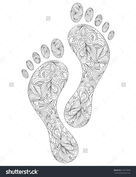 Vector Illustration Of Floral Human Footprints On White Background