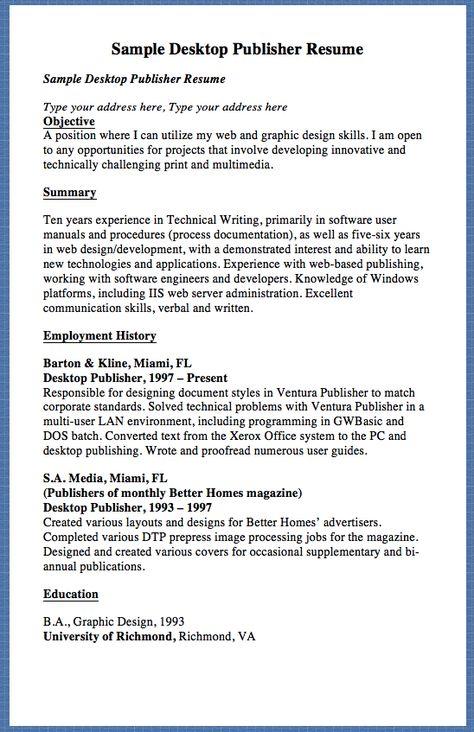 Sample Desktop Publisher Resume Sample Desktop Publisher Resume - publisher resume templates