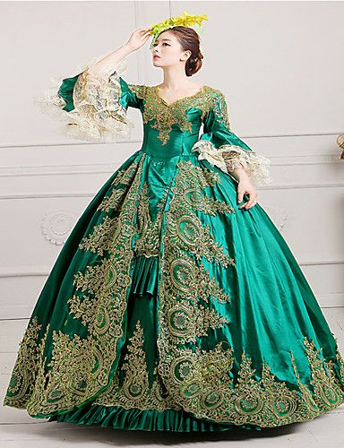 c9fbbb46c8190 Vintage Victorian Rococo Costume Women's Dress Masquerade Party Costume  Green Vintage Cosplay Lace Satin Long Sleeves Poet Long Length
