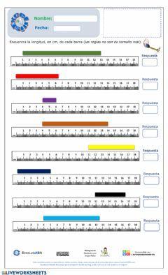 Actividad pdf online de Medidas de longitud para 1er grado