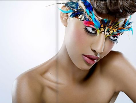 Colorful feathers Face Make-up