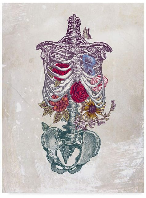 I just love this skeleton and flowers illustration.never would have thought I would think a skeleton was gorgeous! - La Vita Nuova (The New Life) Art Print by Rachel Caldwell