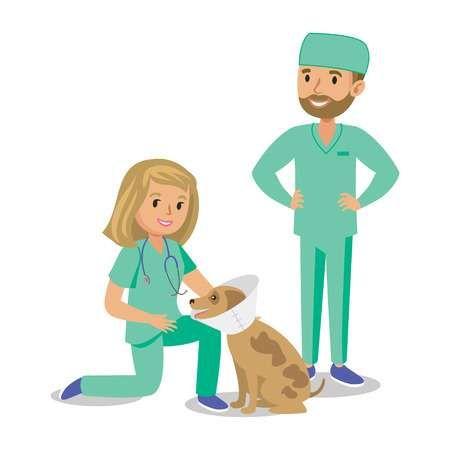 Dos Doctores Con El Perro Medicos Veterinario Veterinarios Historieta Del Perro Curacion Ilustracion Vectorial Veterinaria Perros Veterinario Medico