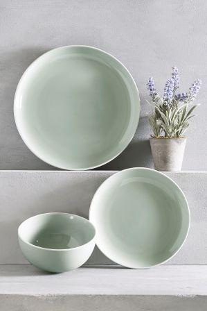 Next 12 Piece Kempton Dinner Set Green Kitchen Accessories Decor Plates