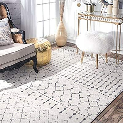 Amazon Com Nuloom Rzbd16a Moroccan Blythe Area Rug 9 X 12 Grey Off White Kitchen Dining Moroccan Area Rug Grey And White Rug Moroccan Trellis