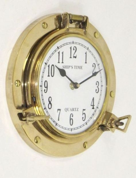 shiny finished stylish brass port hole clock products pinterest clock products and brass