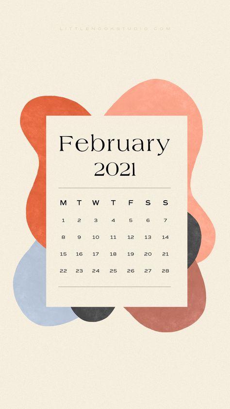 Abstract Art February 2021 Calendar Wallpaper Lock Screen iPhone Freebie