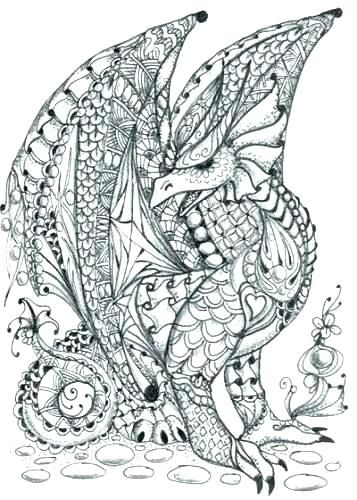 Free Printable Advanced Colouring Pages Coloring Photo Bold Design Zentangle Patterns Zentangle Art Dragon Art