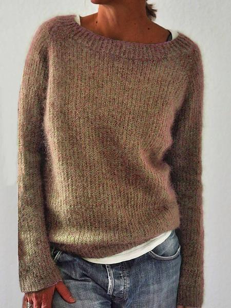 Smallwin Womens Long Sleeve Striped Autumn Crew Neck Stitching T Shirts